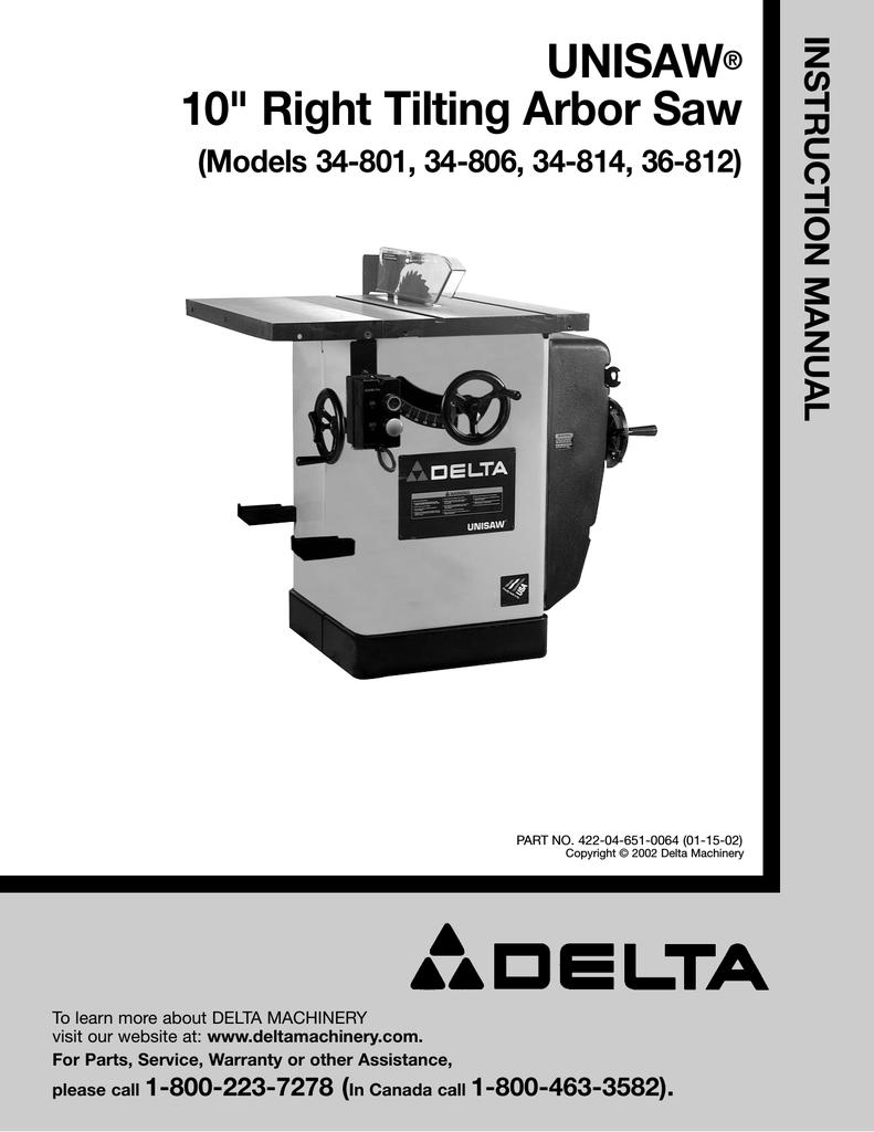 Delta unisaw 34 802 manual