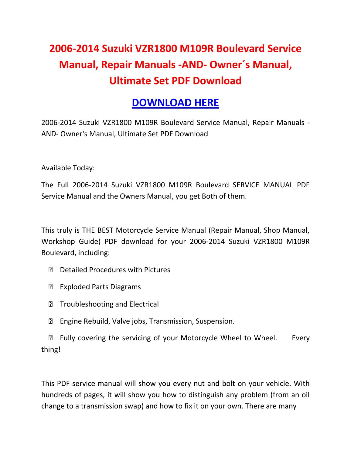 2007 suzuki boulevard m109r owners manual pdf