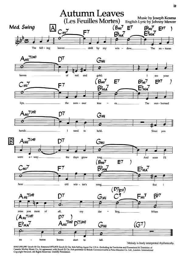 Autumn leaves jazz piano pdf