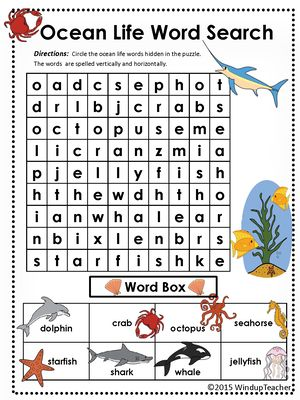 Sea animals word search pdf
