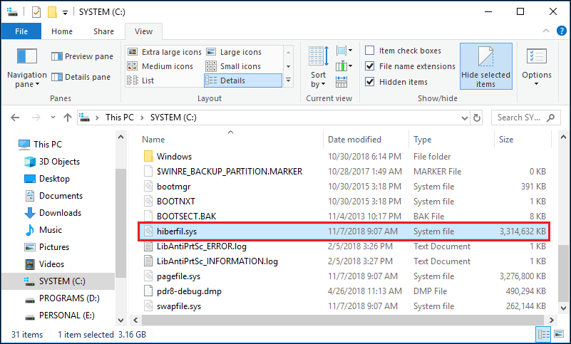 Windows 10 how to move hiberfil.sys to another drive