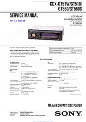 sony xplod cdx gt270s manual
