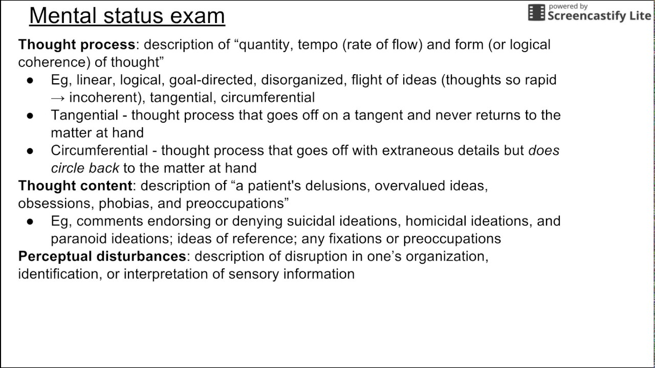 Mental status examination questions pdf