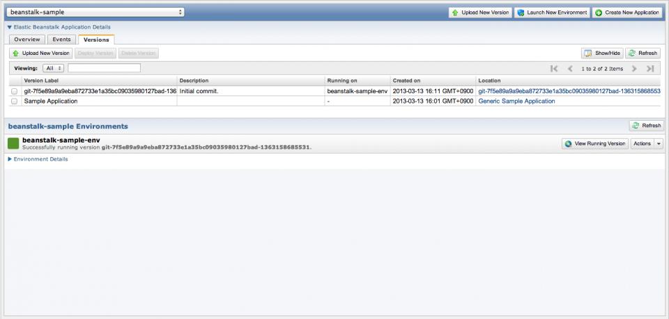 Sample application node.js beanstalk