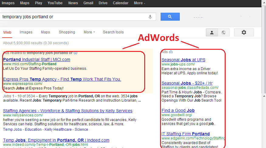 Example of google adwords campaign