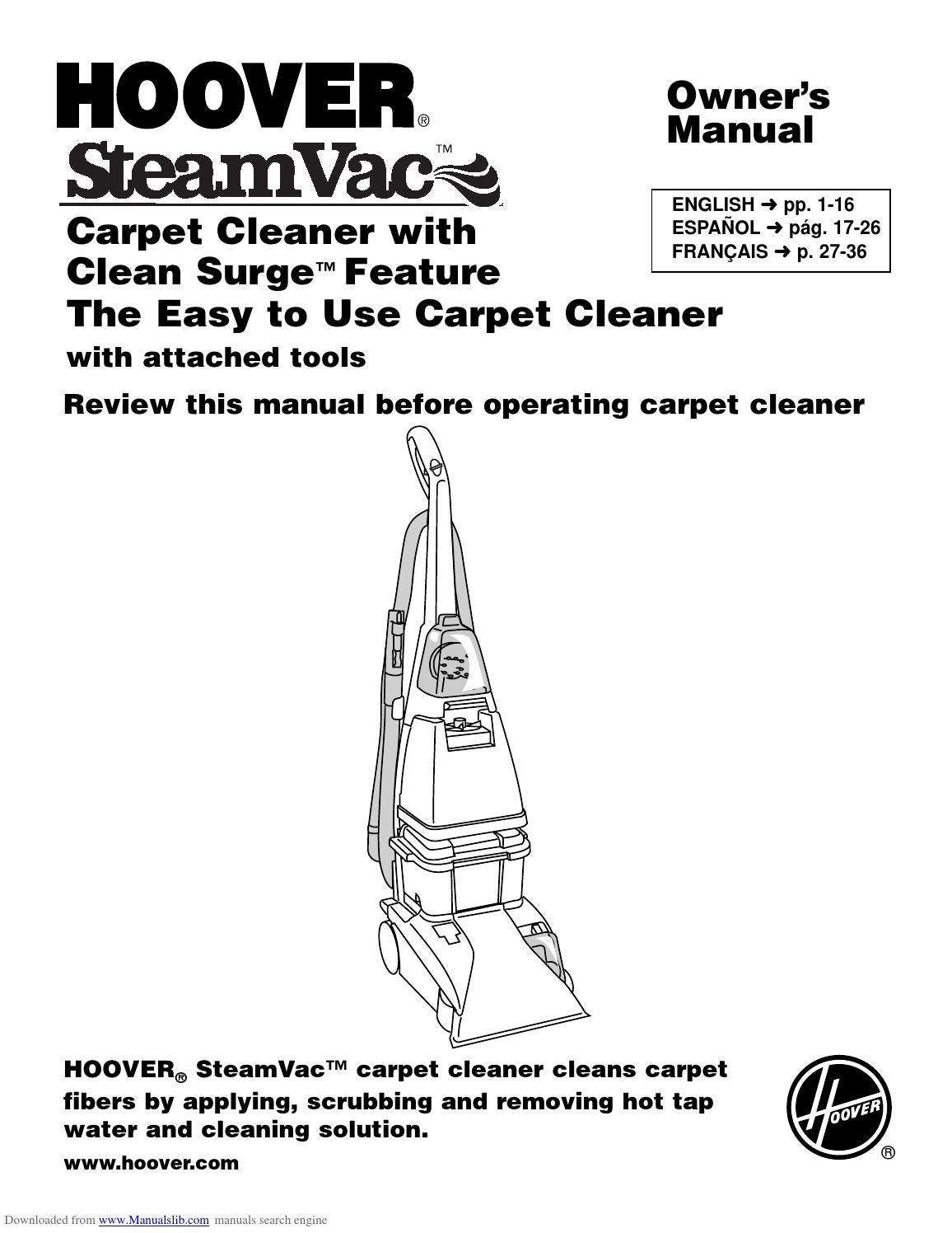 hoover carpet cleaner parts manual