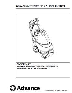 advance aquaclean 15 parts manual