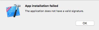 Ios application signature not valid