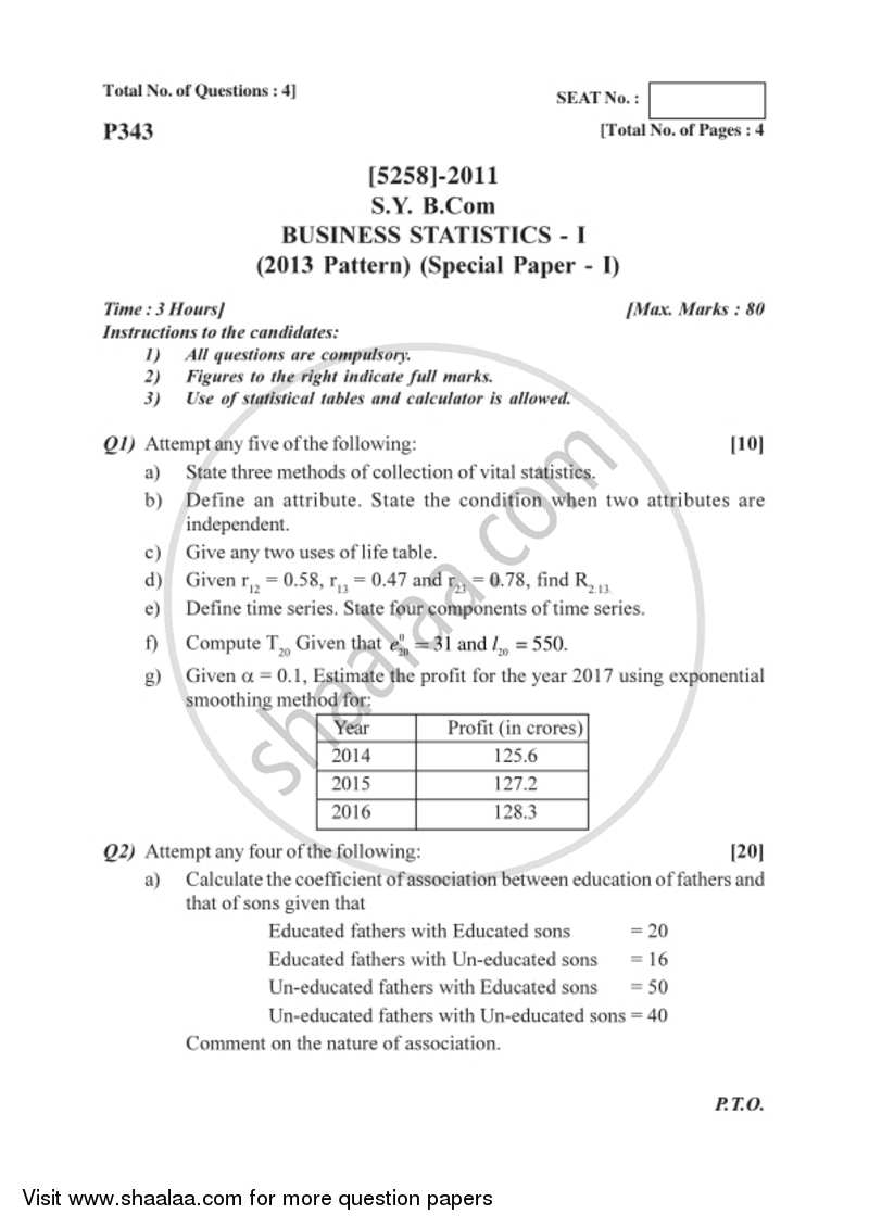 Statistics questions and answers pdf