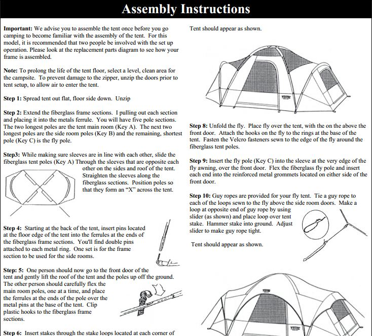 great outdoors tent assembly instructions