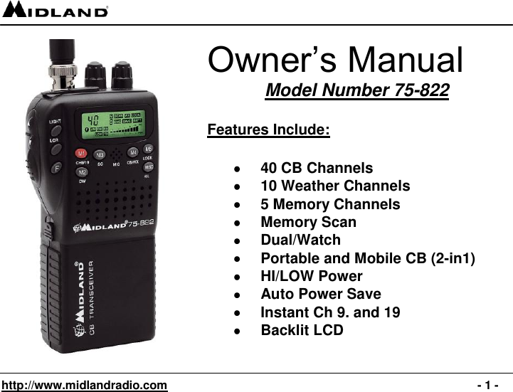 midland cb transceiver 75 822 manual