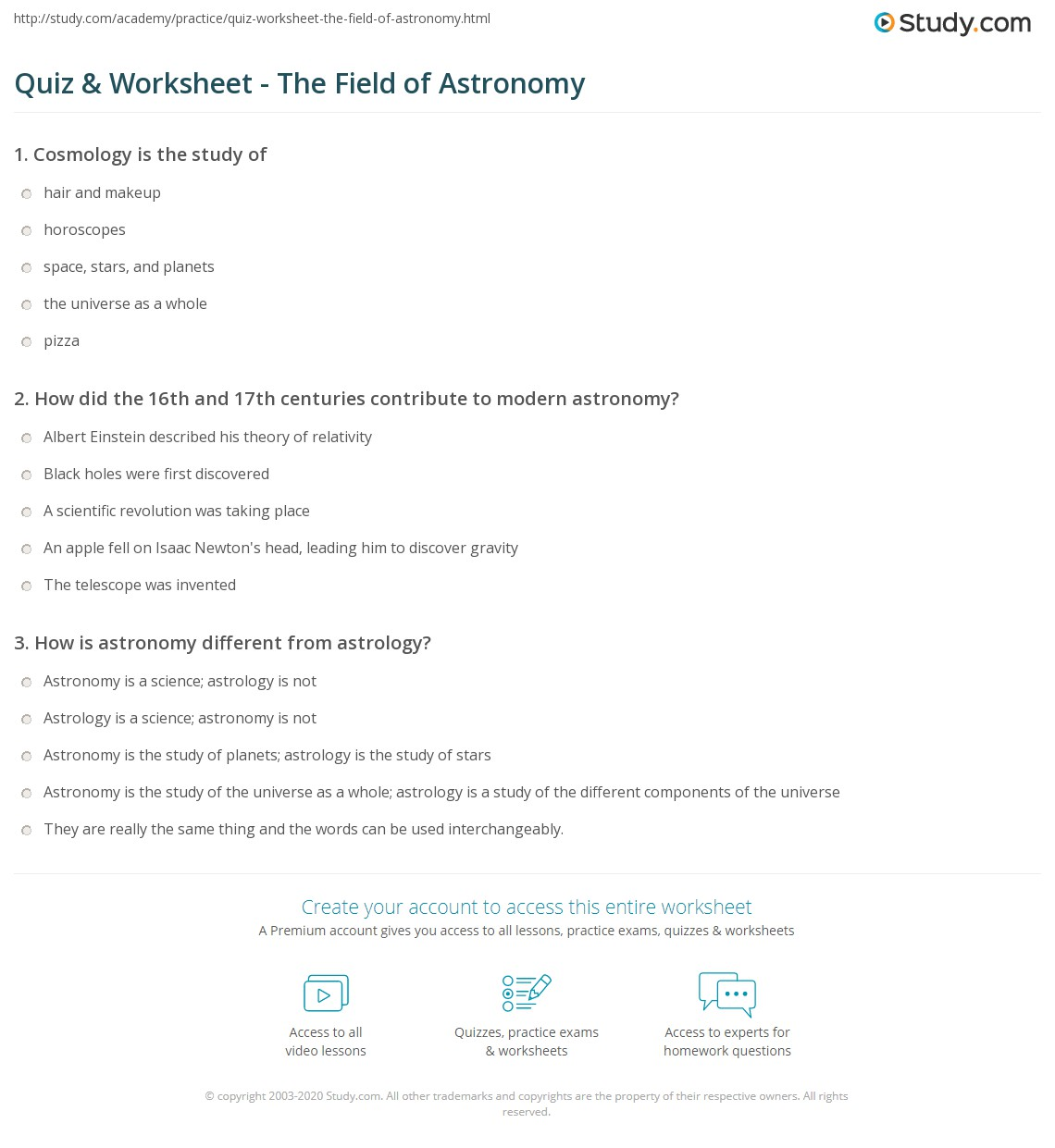 Astronomy quiz questions and answers pdf