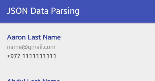Simple example of json parsing in android