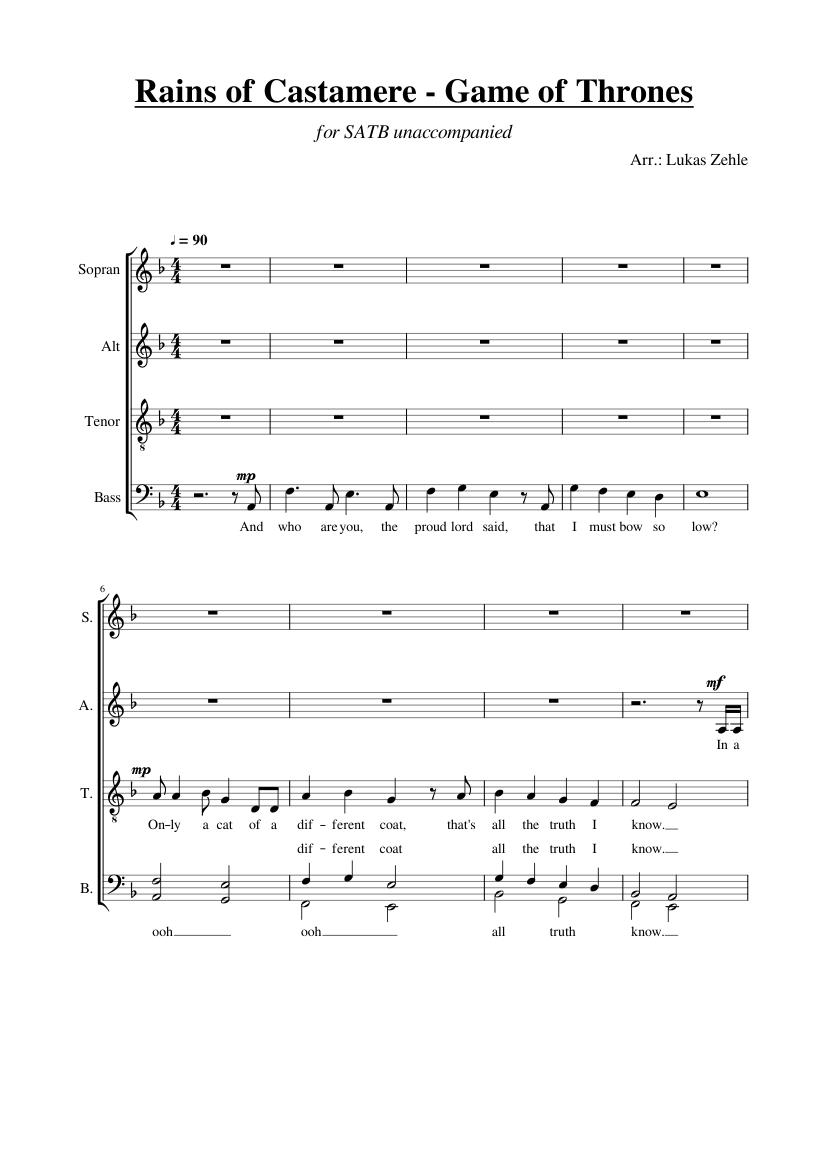 Rains of castamere piano sheet pdf