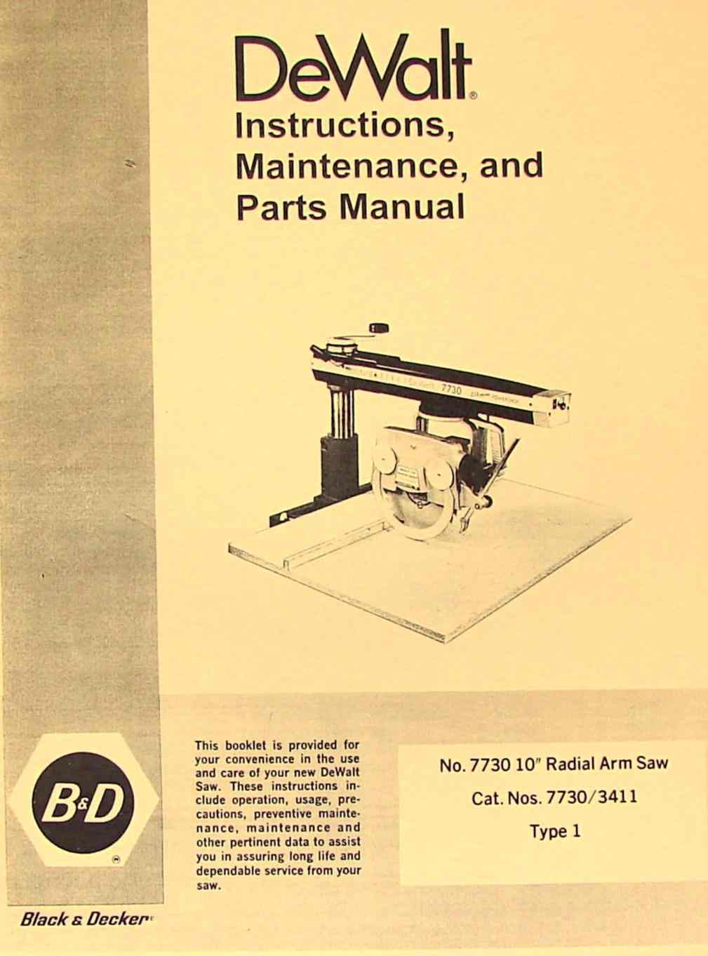 black and decker radial arm saw manual