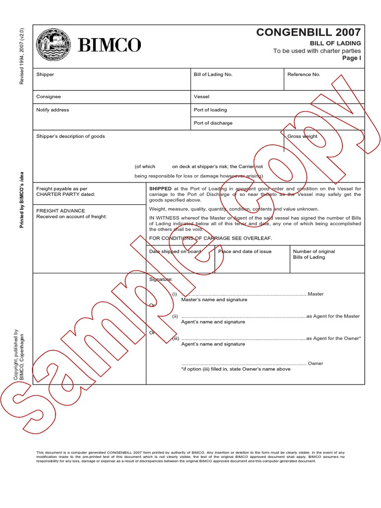 Charter party bill of lading pdf
