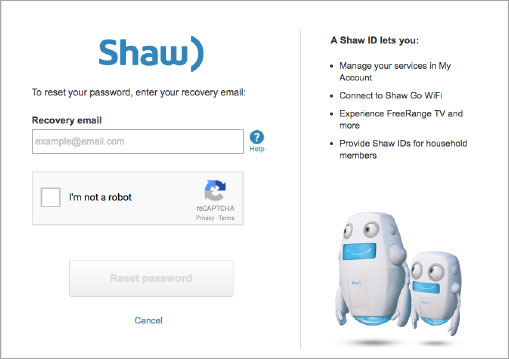 Shaw internet how to change internet password