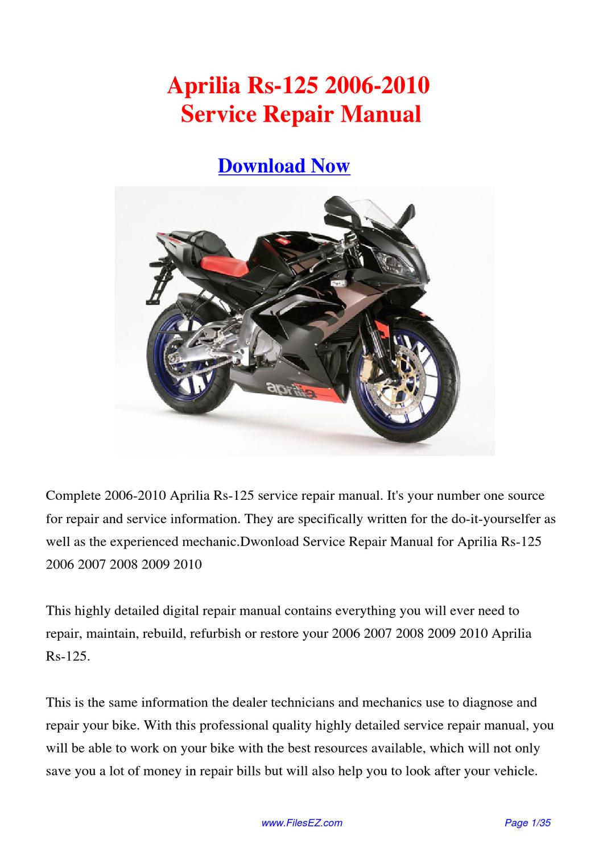 aprilia rs 125 manual pdf