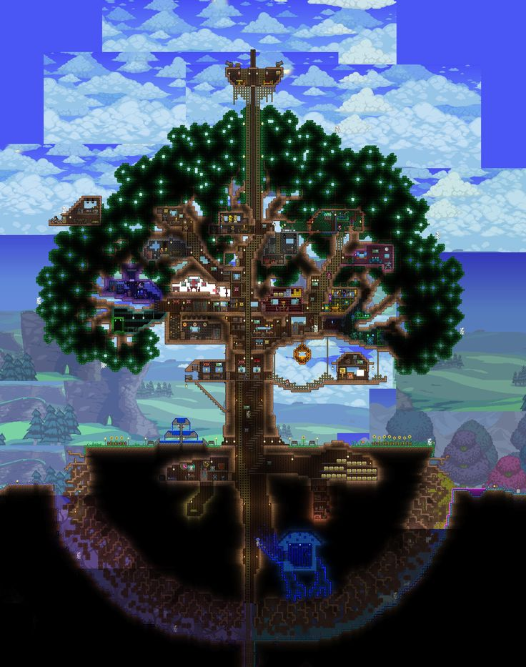 Terraria how to build over trees