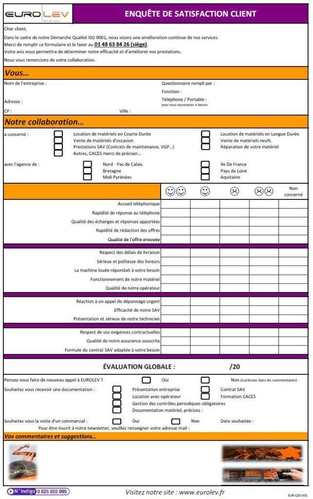 Questionnaire de satisfaction client produit pdf