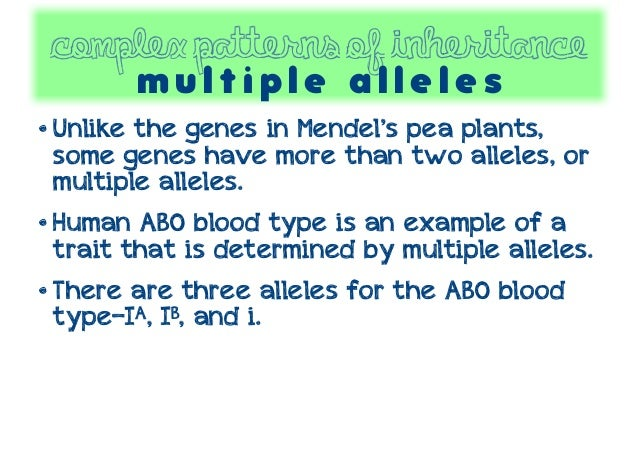 An example of multiple allele inheritance is