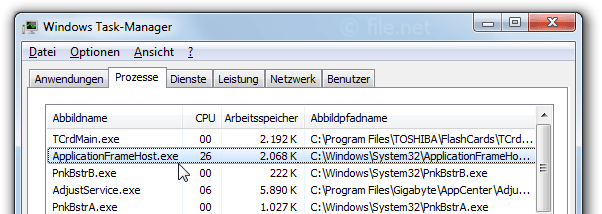 Application frame host exe windows 10