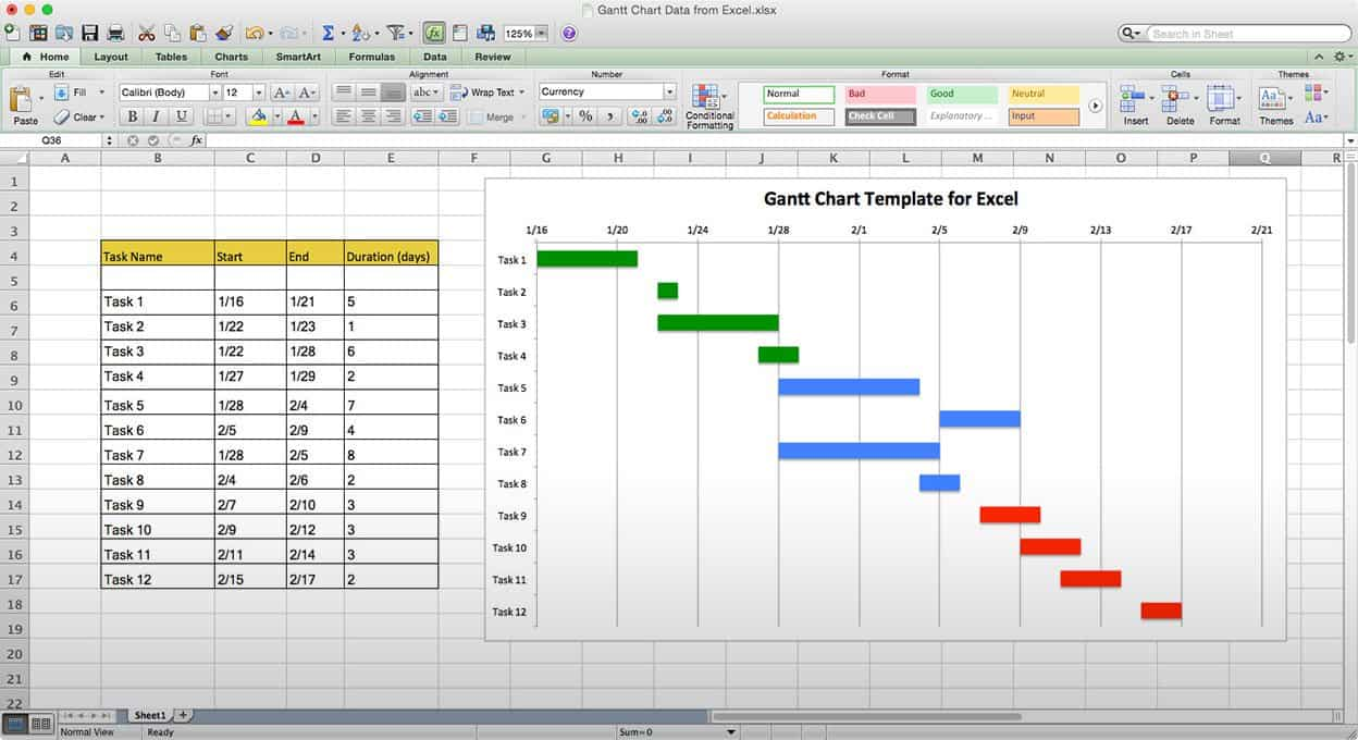 Manual gantt charting in excel