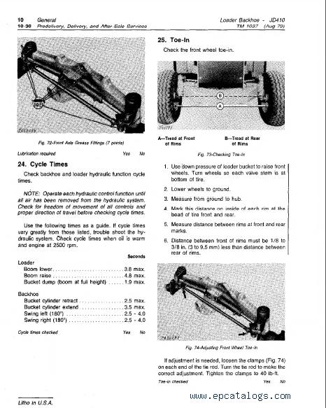 john deere 410 backhoe operators manual