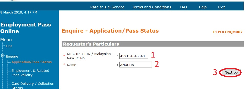 Employment pass online check status application outcome