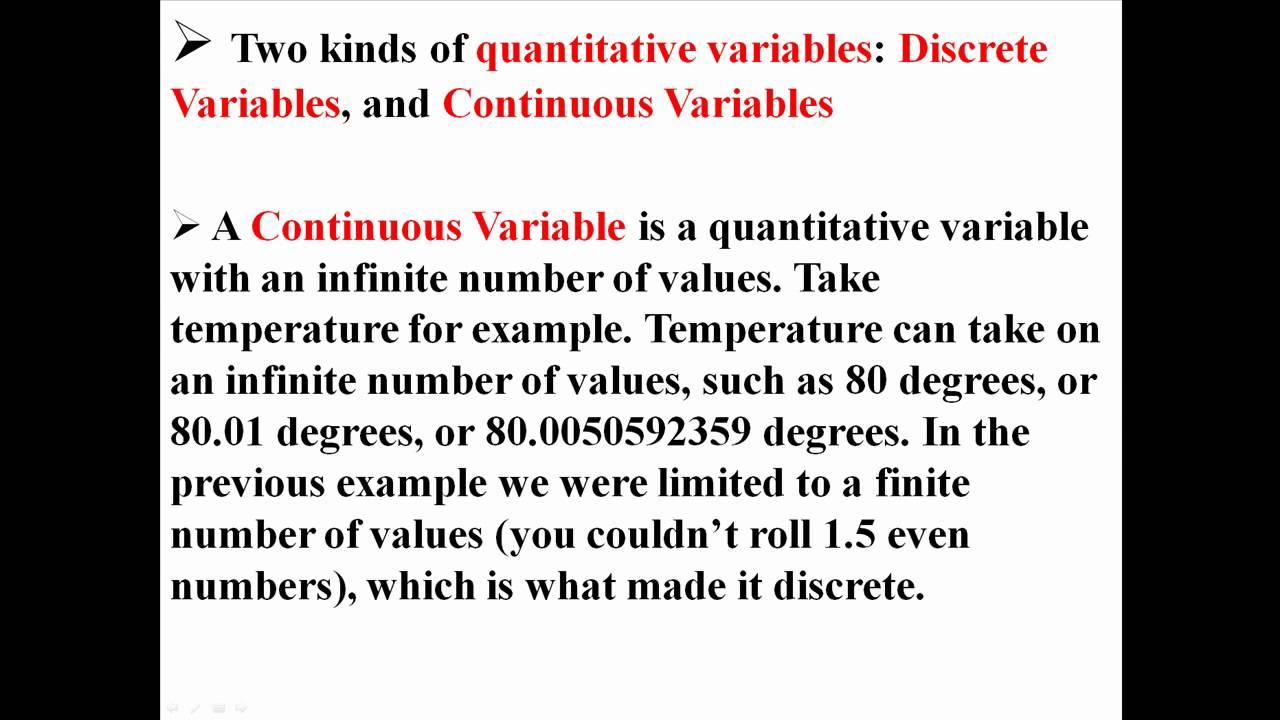 Example of discrete variable in statistics