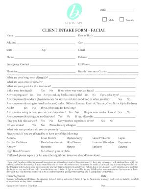 Facial client consultation form pdf