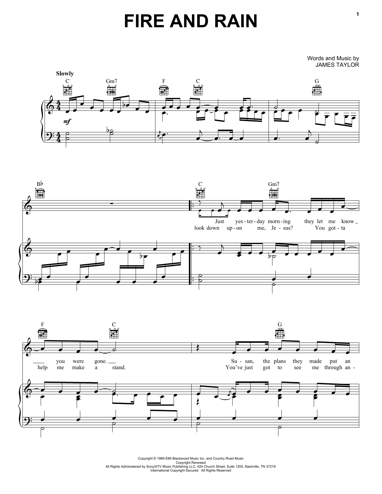 Fire and rain piano pdf