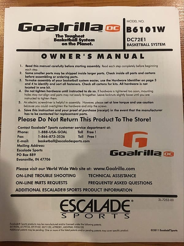 goalrilla basketball system installation instructions