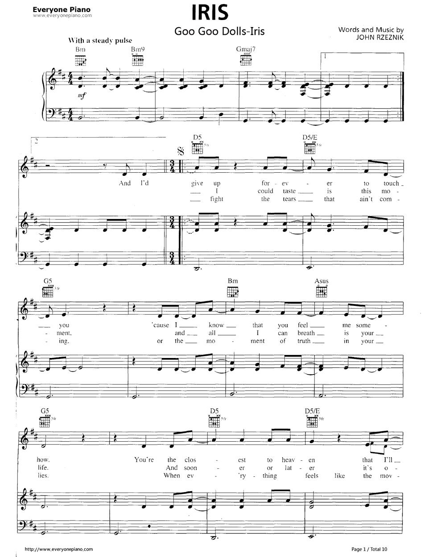 Iris sleeping with sirens piano sheet music pdf