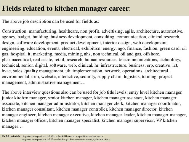 Kitchen manager job description pdf