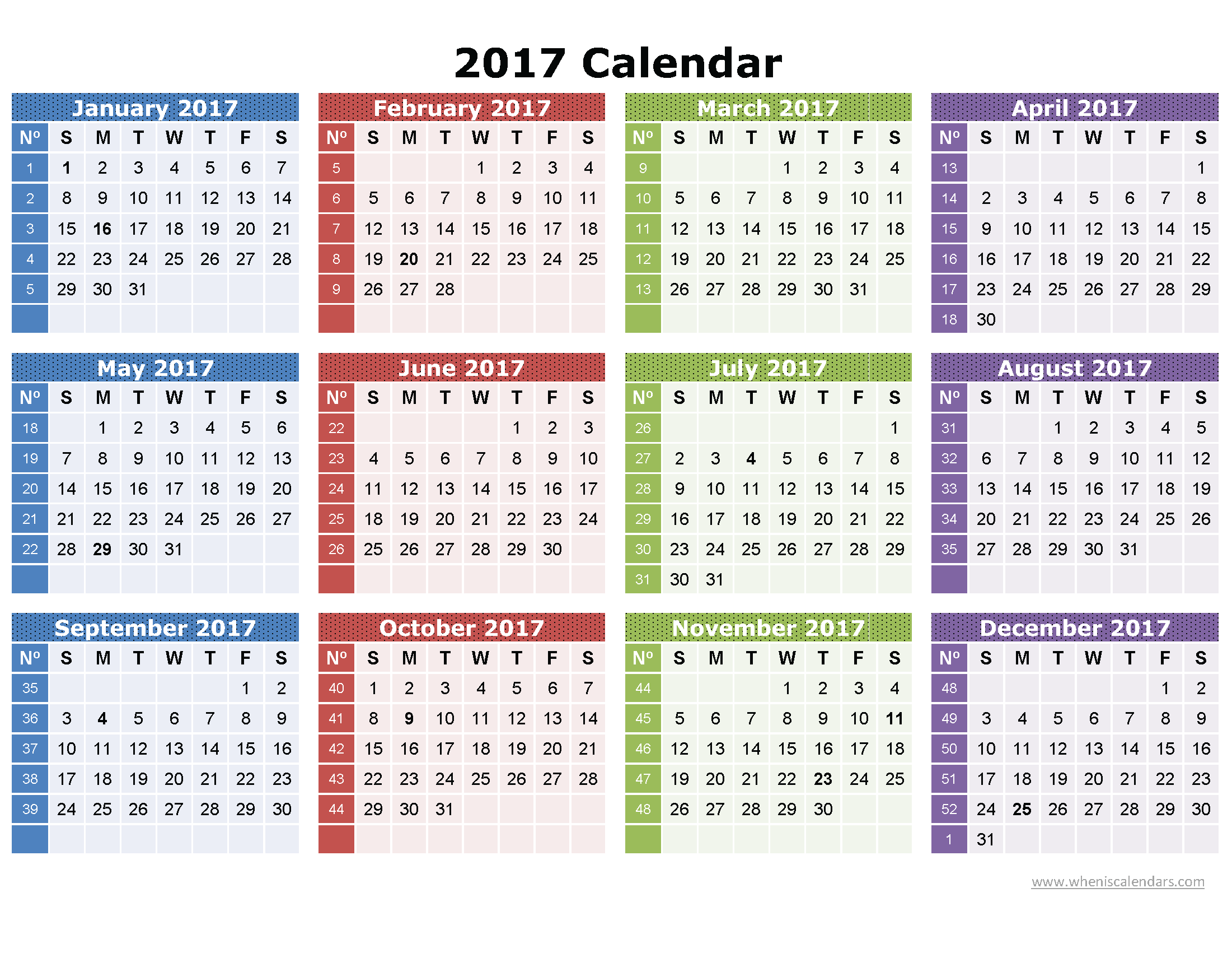 Monthly calendar 2017 pdf free download