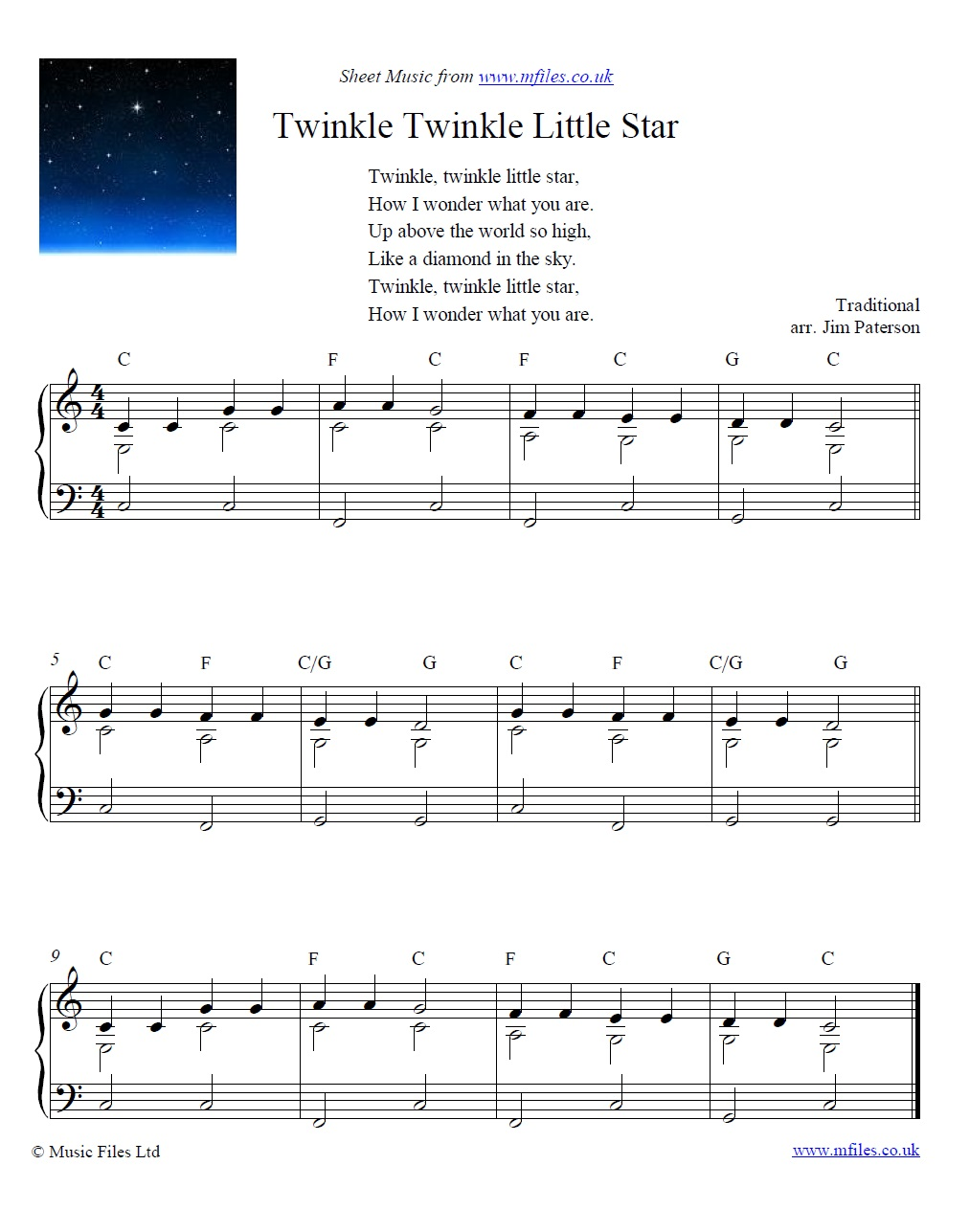 Twinkle twinkle little star sheet music pdf